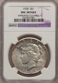 Peace Dollars, 1928 $1 --Improperly Cleaned--NGC Details. Unc. PCGS Population(77/5353). NGC Census: (67/3489). Mintage: 360,649. Numismed...
