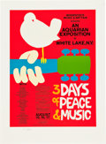 Music Memorabilia:Posters, Woodstock Festival Original Poster, Signed by the Artist (1969)....