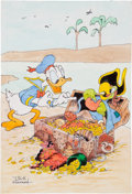 "Original Comic Art:Covers, Jack Hannah Four Color #9 ""Donald Duck Finds Pirate Gold!""Cover Recreation Original Art (undated)...."