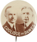 """Political:Pinback Buttons (1896-present), Coolidge & Dawes: A Very Choice 1¼"""" Jugate Rarity...."""