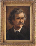Antiques:Decorative Americana, Mark Twain: Period Painting Attributed to James CarrollBeckwith....