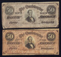 Confederate Notes:1864 Issues, T66 $50 1864.. ... (Total: 2 notes)