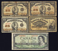 Canadian Currency: , Canadian Shinplasters and a Devil's Face $1. . ... (Total: 5 notes)