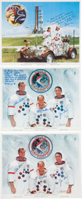Autographs:Celebrities, Apollo 15 and Apollo 17 Crew-Signed Color Photos. ... (Total: 3Items)
