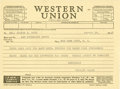 "Baseball Collectibles:Others, 1948 Christy Walsh Typed ""Western Union"" Telegram to Mrs. George H. Ruth in Sympathy of the Passing of Babe Ruth - Sent on the..."