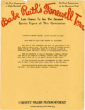 Baseball Collectibles:Others, 1931 Babe Ruth Farewell Tour Advertisement....