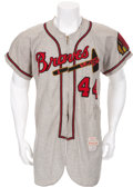 Baseball Collectibles:Uniforms, 1954 Hank Aaron Game Worn Milwaukee Braves Rookie Jersey....