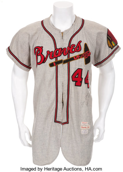 newest 3735d 7f2e0 1954 Hank Aaron Game Worn Milwaukee Braves Rookie Jersey ...