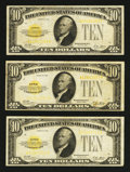 Small Size:Gold Certificates, Fr. 2400 $10 1928 Gold Certificates. Three Examples. Fine.. ... (Total: 3 notes)