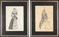 Movie/TV Memorabilia:Autographs and Signed Items, Edgar G. Ulmer's Signed Sketch of Mary, Queen of Scots, and HisSketch of Queen Elizabeth.... (Total: 2 )