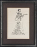 Movie/TV Memorabilia:Autographs and Signed Items, Edgar G. Ulmer's Signed Sketch of Lady with Riding Whip....