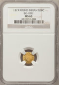 California Fractional Gold: , 1873 50C Indian Round 50 Cents, BG-1051, Low R.5, MS63 NGC. NGCCensus: (1/0). PCGS Population (14/8). (#10880)...
