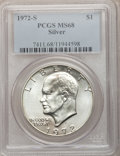 Eisenhower Dollars: , 1972-S $1 Silver MS68 PCGS. PCGS Population (1369/13). NGC Census: (312/4). Mintage: 2,193,056. Numismedia Wsl. Price for p...