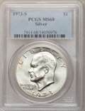Eisenhower Dollars: , 1973-S $1 Silver MS68 PCGS. PCGS Population (772/2). NGC Census: (95/1). Mintage: 869,400. Numismedia Wsl. Price for proble...