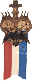 Political:Ferrotypes / Photo Badges (pre-1896), Blaine & Logan: Simply the Best Jugate Photo Badge to be Hadfor this 1884 Republican Ticket. ...