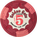 Miscellaneous:Gaming Chips, Golden Gate $5 Chip, 5th Series, R-9. ...