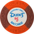Miscellaneous:Gaming Chips, Dunes $5 Baccarat Chip, 11th Series, R-9. ...