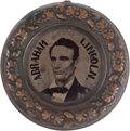 """Political:Ferrotypes / Photo Badges (pre-1896), Lincoln & Hamlin: The Largest 47mm Size of the Distinctive""""Donut"""" Ferrotype. ..."""