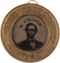 Political:Ferrotypes / Photo Badges (pre-1896), Lincoln & Johnson: A Fine 1864 Campaign Ferrotype....