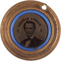 Political:Ferrotypes / Photo Badges (pre-1896), Lincoln & Hamlin: A Rare 1860 Ferrotype Variant in SpectacularCondition. ...