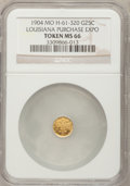 Expositions and Fairs, 1904 Louisiana Purchase Exposition, 1/4 Louisiana Gold MS66 NGC. Hendershott-61-320. St. Louis, MO....