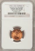 Civil War Tokens, (1961) Bashlow Restrike Confederate Cent, Copper MS69 Red NGC.Defaced Dies....