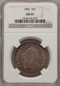 Early Half Dollars: , 1806 50C Pointed 6, Stem AU55 NGC. NGC Census: (71/658). PCGSPopulation (40/89). Mintage: 839,576. Numismedia Wsl. Price f...