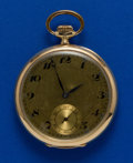 Timepieces:Pocket (post 1900), Swiss 14k Gold, 16 Size Open Face Pocket Watch. ...