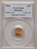 Commemorative Gold: , 1916 G$1 McKinley MS66 PCGS. PCGS Population (571/61). NGC Census:(317/69). Mintage: 9,977. Numismedia Wsl. Price for prob...