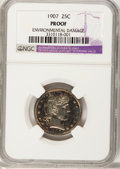 Proof Barber Quarters, 1907 25C --Environmental Damage--NGC. Proof. NGC Census: (3/194). PCGS Population (3/151). Mintage: 575. Numismedia Wsl....