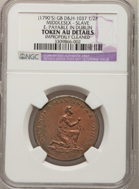 (1790's) Am I Not A Man And A Brother Halfpenny--Improperly Cleaned--NGC Details. AU. Dalton & Hamer-1037. Middlesex...