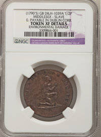 (1790's) Am I Not A Man And A Brother Halfpenny--Environmental Damage--NGC Details. XF. Dalton & Hamer-1039A. Middle...