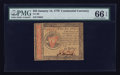 Colonial Notes:Continental Congress Issues, Continental Currency January 14, 1779 $55 PMG Gem Uncirculated 66EPQ.. ...