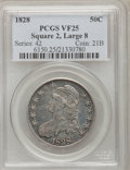 Bust Half Dollars: , 1828 50C Square Base 2, Large 8 VF25 PCGS. PCGS Population (1/108).NGC Census: (0/0). (#6150)...