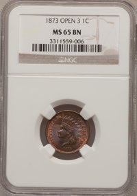 1873 1C Open 3 MS65 Brown NGC. NGC Census: (0/0). PCGS Population (5/1). Mintage: 11,676,500. Numismedia Wsl. Price for...