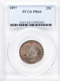 Proof Barber Quarters: , 1897 25C PR64 PCGS. PCGS Population (55/68). NGC Census: (54/83). Mintage: 731. Numismedia Wsl. Price for problem free NGC/...