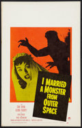 """Movie Posters:Science Fiction, I Married a Monster from Outer Space (Paramount, 1958). Window Card(14"""" X 22""""). Science Fiction.. ..."""