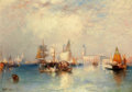 Fine Art - Painting, American:Modern  (1900 1949)  , THOMAS MORAN (American, 1837-1926). Venice, Grand Canal,1903. Oil on canvas . 14-1/4 x 20-1/4 inches (36.2 x 51.4 cm). ...