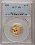 1910 $2 1/2 XF45 PCGS. PCGS Population (45/3521). NGC Census: (7/6666). Mintage: 492,000. Numismedia Wsl. Price for prob...