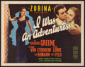"""Movie Posters:Crime, I Was an Adventuress (20th Century Fox, 1940). Half Sheet (22"""" X28"""") Style A. Crime.. ..."""