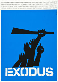 "Exodus (Art Krebs Screen Studio, 1960). Saul Bass Silk Screen Poster (25"" X 35.5"")"