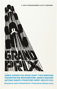 "Grand Prix (Art Krebs Screen Studio, 1967). Saul Bass Silk-Screen Poster (25"" X 39"")"