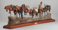 Sculpture, EARLE HEIKKA (American, 1910-1941). Trophy Hunters. Bronze with polychrome. 14 x 50 inches (35.6 x 127 cm). Ed. 11/30. ...