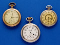 Timepieces:Pocket (post 1900), Three - 12 Size, Waltham, Elgin & New Haven Kermit DollarPocket Watches. ... (Total: 3 Items)