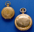 Timepieces:Pocket (post 1900), Waltham & Columbia New Haven, Gold Filled Hunters Cases. ...(Total: 2 Items)