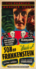 "Movie Posters:Horror, Son of Frankenstein/Bride of Frankenstein Combo (Realart, R-1949).Three Sheet (41"" X 81"").. ..."