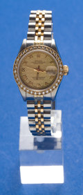 Timepieces:Wristwatch, Rolex, Ladies Two-tone, Datejust With Diamond Bezel, Circa 1987. ...
