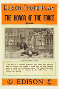 "Movie Posters:Drama, The Honor of the Force (Thomas A. Edison, Inc., 1913). One Sheet(27"" X 41"").. ..."