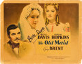 """Movie Posters:Drama, The Old Maid (Warner Brothers, 1939). Autographed Title Lobby Card(11"""" X 14"""").. ..."""