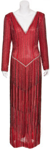 Movie/TV Memorabilia:Costumes, Randy McLaughlin of Jeran Collection - Beaded Red Evening Gown....